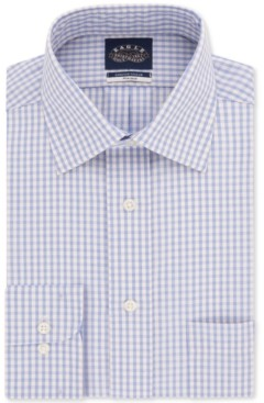 Eagle Men's Slim-Fit Non-Iron Stretch Collar Lemon Check Dress Shirt