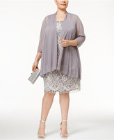 R & M Richards R&M Richards Plus Size Lace Dress with Sheer Chiffon Jacket