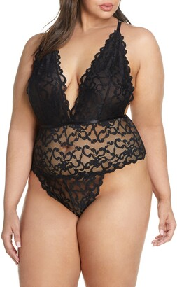 Oh La La Cheri Jeana Plunge High Leg Galloon Lace Bodysuit