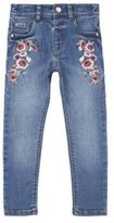 F&F Floral Embroidered Jeans, Girl's