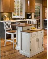 Home Styles Woodbridge Two Tier Kitchen Island in White with Oak Top and Two Stools