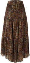 Saint Laurent long tiered paisley skirt