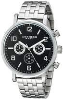 Akribos XXIV Men's AK800SSB Chronograph Quartz Movement Watch with Black Dial and Stainless Steel Bracelet