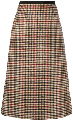 Prada Houndstooth Midi Skirt