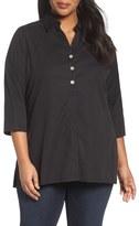 Foxcroft 'Pamela' Button Back Non-Iron Tunic Shirt (Plus Size)