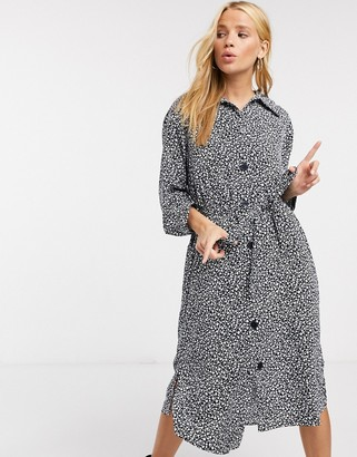 Monki Valentina midi shirt dress in black and white