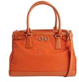 Salvatore Ferragamo marigold leather trimmed convertible nylon satchel