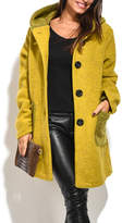 Everest Yellow Hooded Wool-Blend Car Coat - Plus Too