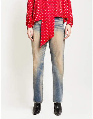 Balenciaga Distressed straight high-rise jeans