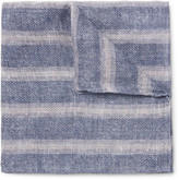 Brunello Cucinelli Double-faced Printed Linen And Cotton-blend Pocket Square