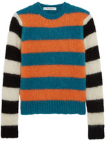 Max Mara Striped Mohair-blend Sweater - Blue