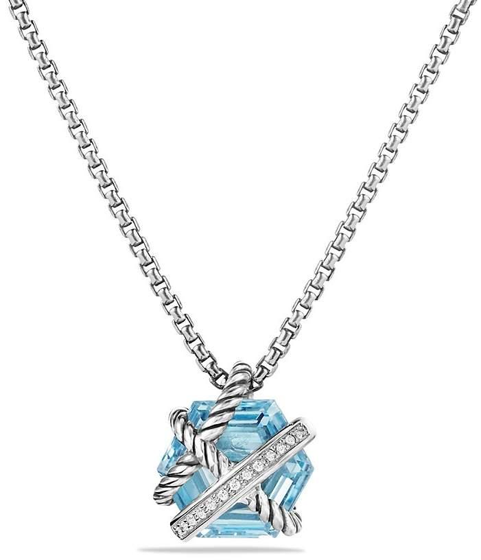 David Yurman Petite Cable Wrap Necklace with Blue Topaz and Diamonds