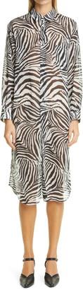 Junya Watanabe Zebra Print Long Sleeve Shirtdress