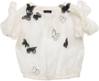 Dolce & Gabbana Cream Silk Organza Butterfly Applique Detail Sheer Blouse M