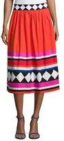 Kate Spade Geo Border-Print Poplin Midi Skirt
