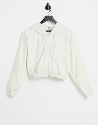 adidas 'Comfy Cords' velvet corduroy oversized zip through hoodie in off white