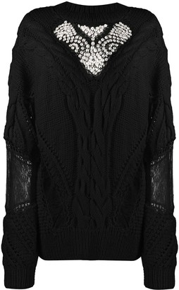 Almaz Crystal-Embellished Cable Knit Jumper