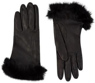 Harrods Rex Fur Trimmed Leather Gloves