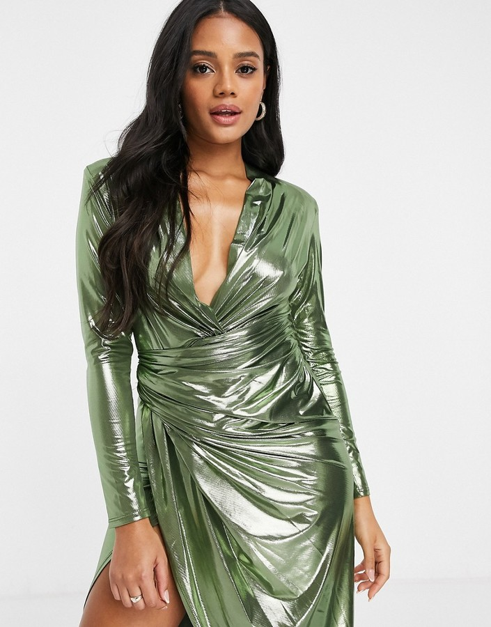 John Zack long sleeve wrap maxi dress in high shine gold