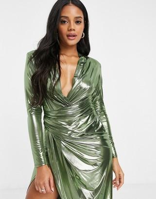 John Zack long sleeve wrap maxi dress in high shine gold