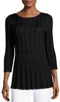 St. John Checkered Bateau-Neck 3/4-Sleeve Top, Black