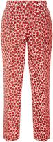 Oscar de la Renta Floral Brocade Straight-Leg Pants