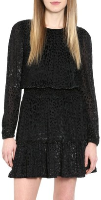 MICHAEL Michael Kors Wildcat Smocked Long-Sleeve Dress