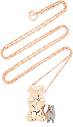Lauren X Khoo Gummy Bear Dog 18K Rose and Yellow-Gold and Diamond Necklace