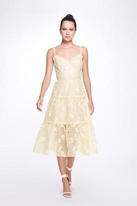 Marchesa Notte Sleeveless V-Neck Organza Tiered Dress
