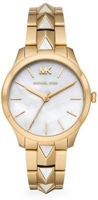 Michael Kors Runway Three-Hand Gold-Tone Stainless Steel Bracelet Watch