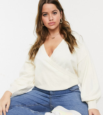 ASOS DESIGN Curve wrap jumper in cream