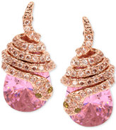 Betsey Johnson Rose Gold-Tone Pink Crystal Pavé Snake Stud Earrings