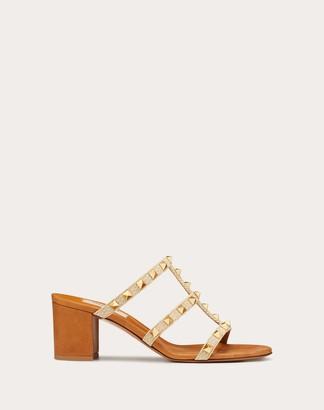 Valentino Rockstud Raffia Slide Sandal 60 Mm Women Natural Viscose 60%, Cotton 40% 40