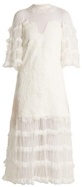 Jonathan Simkhai Contrast Panel Tiered Lace Dress - Womens - White
