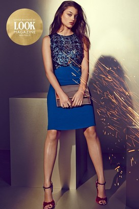 Little Mistress by Look Magazine Teal Sequin Embellished Cut Out Dress