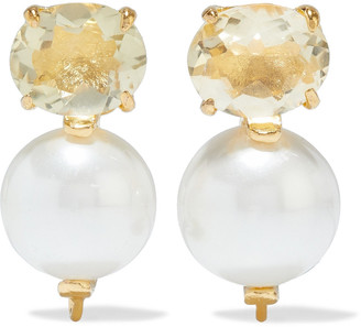 Bounkit 14-karat Gold-plated, Mother-of-pearl And Quartz Earrings