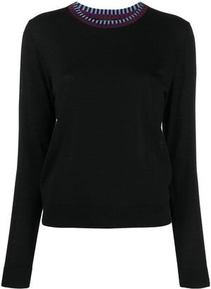 Paul Smith Fine Knit Jumper With Double Stripe Neckline