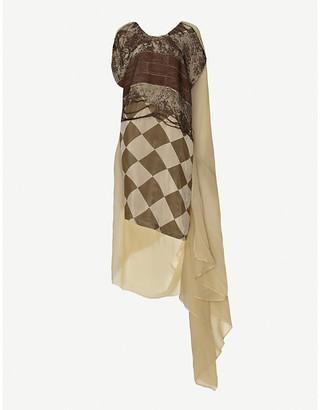 UMA WANG Cape asymmetric crepe midi dress