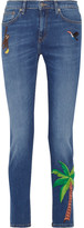 Mira Mikati Embroidered High-rise Skinny Jeans - Mid denim