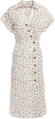 Joie Button-detailed Leopard-print Linen-canvas Midi Shirt Dress