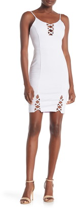 4SI3NNA the Label Bodycon Lace-Up Dress