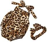 LUNIWEI Infant Kids Baby Girl Boy Leopard Romper Jumpsuit + Headband 2PCS Set