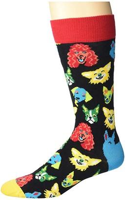 Happy Socks Funny Dog Sock (Black Combo) Men's Crew Cut Socks Shoes