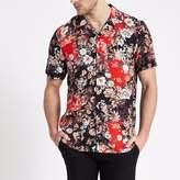 River Island Mens Black baroque short sleeve revere shirt