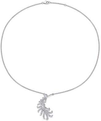 Miadora 14k White Gold 3/4ct TDW Diamond Leaf Necklace