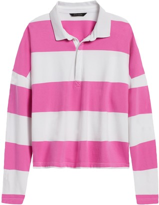 Banana Republic Cropped Rugby Stripe Polo Shirt