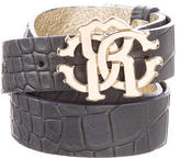 Roberto Cavalli Embossed Leather Belt