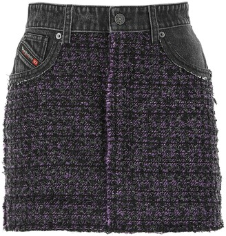 Diesel O-San Contrast Tweed Panel Denim Skirt