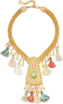 Ben-Amun Gold-plated, faux pearl, bead, stone and tassel necklace