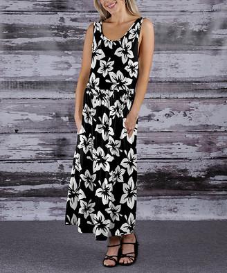 Beyond This Plane Women's Maxi Dresses BLK - Black & White Floral Pocket Sleeveless Maxi Dress - Women & Plus